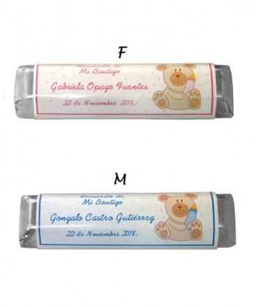 Chocolates personalizados recuerdo de bautizo