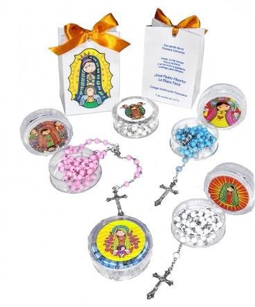 Rosario caja virgen plis en bolso cinta recuerdo de primera comunion