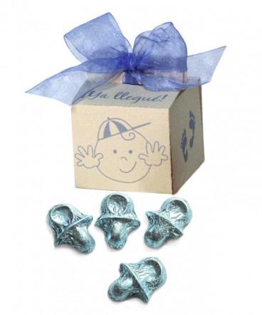 Caja caritas cinta organza recuerdo de Bautizo