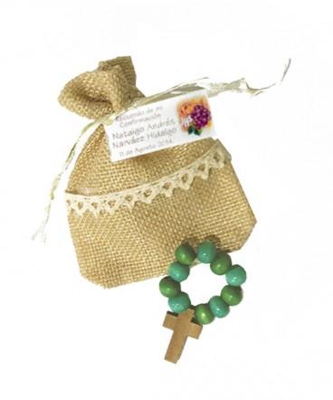 Denario madera bolsa arpillera recuerdo de Cofirmación