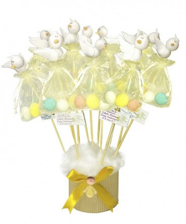 Base palomas cerámica huevos recuerdo primera comunion