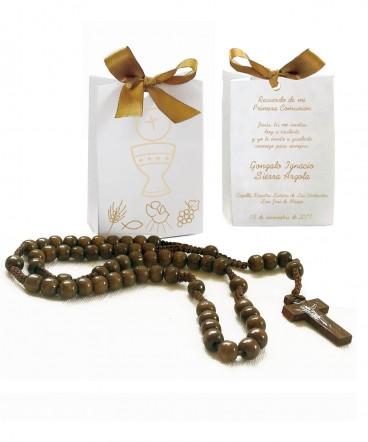 Bolso cinta con rosario recuerdo de primera Comunión