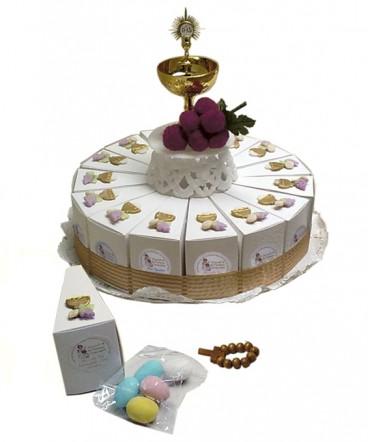 Torta cáliz cerámica recuerdo de comunión