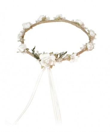 Corona country flores blancas de Bautizo