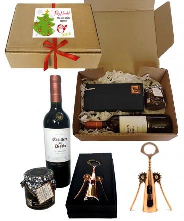 Set vino y aperitivo regalo de navidad