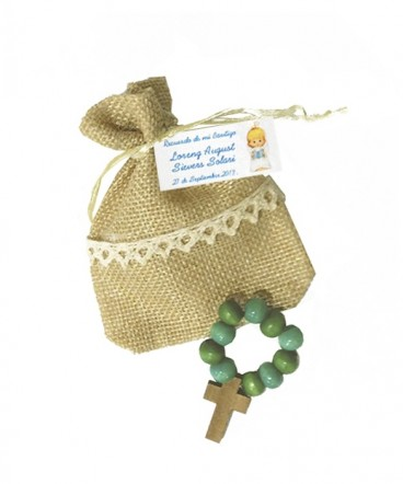 Denario madera verde bolsa rústica recuerdo Bautizo