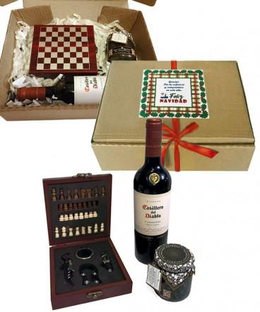 Set de ajedrez y set set vino regalo de navidad
