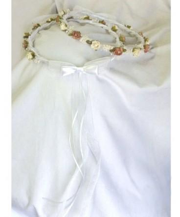 Corona rodón cinta organza blanca primera comunión