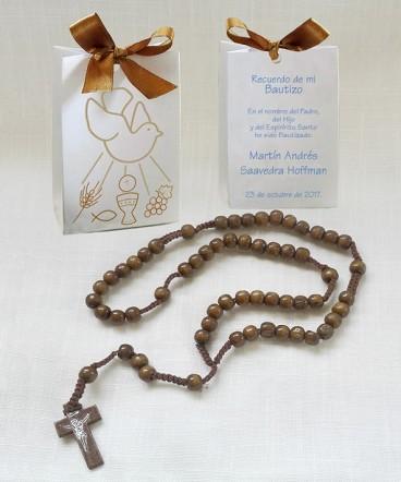 Bolso cinta rosario madera recuerdo de Bautizo