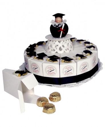 Torta 15 cajitas birrete decoración cerámica recuerdo Graduación