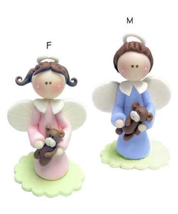 Cupula de torta ángel con oso cerámica de Bautizo