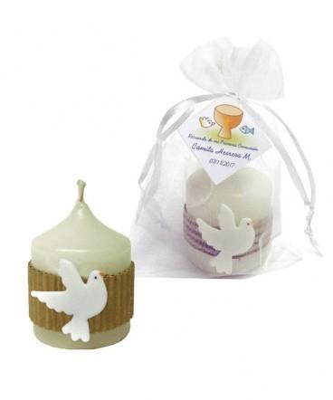 Vela paloma cerámica recuerdo primera comunión