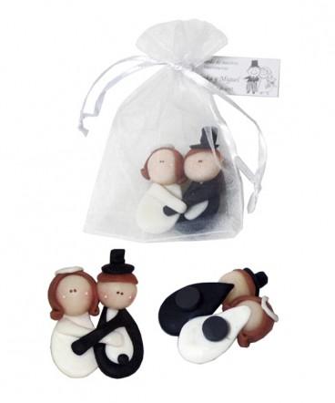 Novios imantados de cerámica recuerdo de Matrimonio