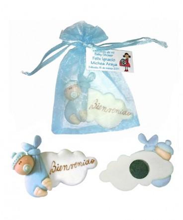 Bolsa bebé con nube imantado recuerdo Baby Shower
