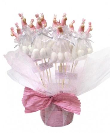 Base bebes bolsa cerámica brochetas huevos recuerdo Baby Shower