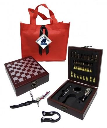 Set de vino ajedrez regalo dí del minero