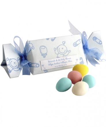 Caja dulce bebes con huevos almendra de Bautizo