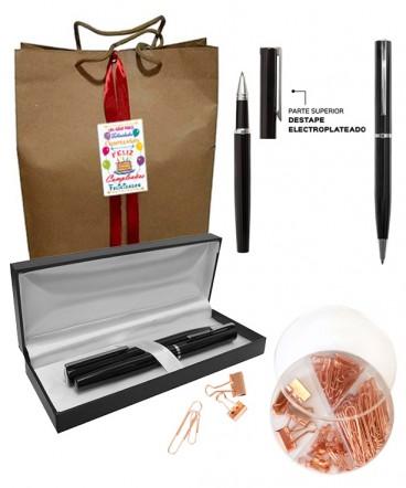 Set de bolígrafos con set de escritorio regalo de cumpleaños