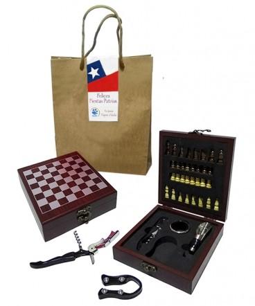 Caja set de vino ajedrez regalode fiestas patrias
