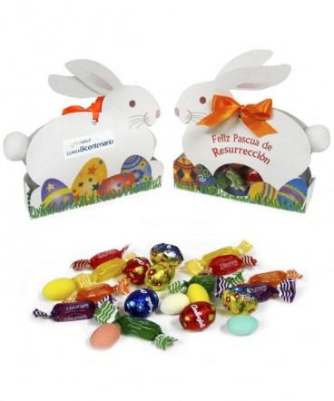 Caja conejo pompón golosinas regalo pascua resurrección